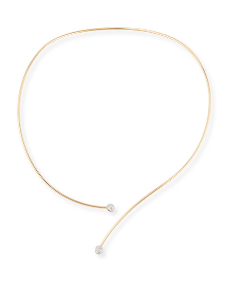 18K Yellow Gold Collar Necklace with Diamond Tips