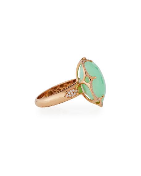 Bon Ton Chrysoprase Ring with Diamonds in 18K Rose Gold