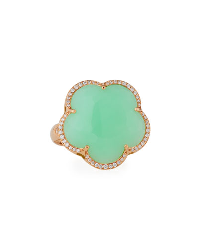 Bon Ton Chrysoprase Ring with Diamonds in 18K Rose Gold
