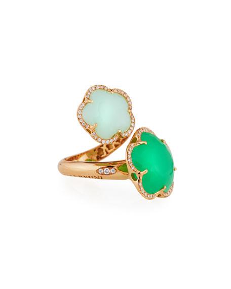 Bon Ton Green Chrysoprase Bypass Ring with Diamonds
