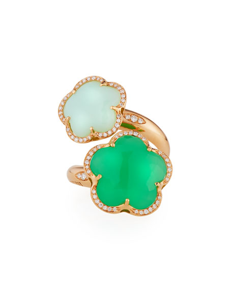 Bon Ton Green Chrysoprase Bypass Ring with Diamonds