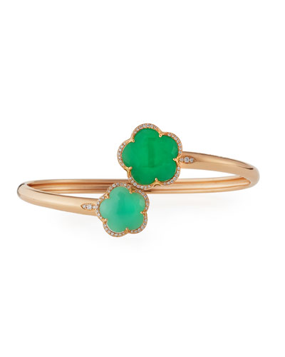 Bon Ton Green Chrysoprase Flower Bracelet with Diamonds in 18K Rose Gold