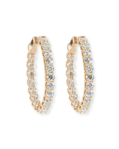 NM Diamond Collection Large Diamond Hoop Earrings in 18K Rose Gold