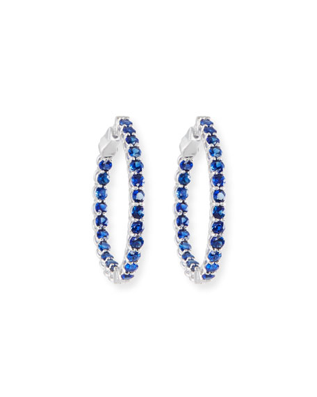 NM Diamond Collection Small Blue Sapphire Hoop Earrings