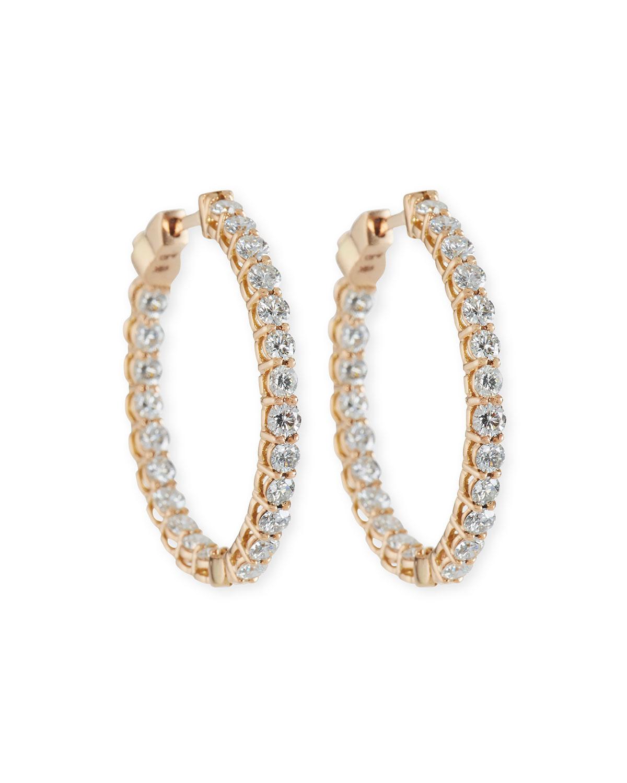 49d95522c9810 Small Diamond Hoop Earrings in 18K Rose Gold