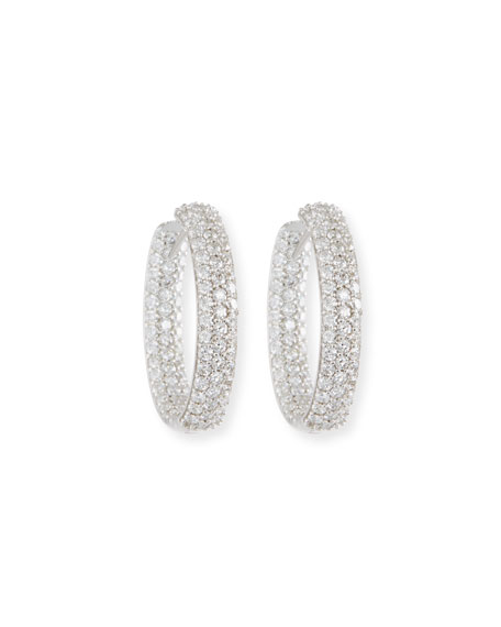 NM Diamond Collection 25mm Pave Diamond Hoop Earrings