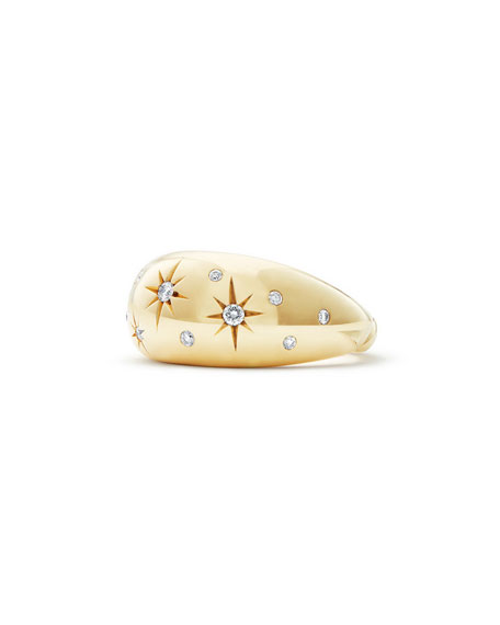 11mm Pure Form 18K Gold Diamond Star Ring, Size 8