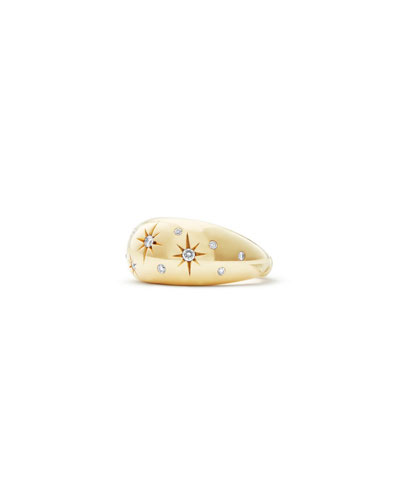 11mm Pure Form 18K Gold Diamond Star Ring, Size 7