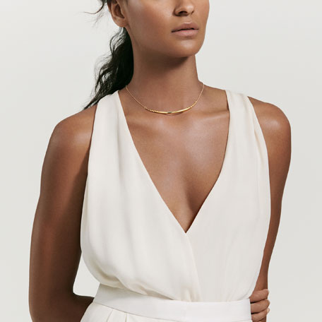 David Yurman Pure Form 18K Gold Collar Necklace
