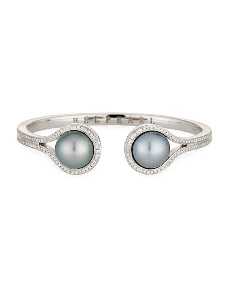 Tahitian Pearl & Diamond Open Cuff Bracelet in 18K White Gold