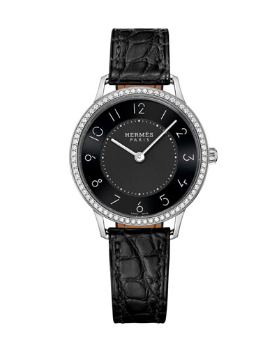 Slim d'Hermès Watch with Diamonds & Black Alligator Strap, 0.47tcw