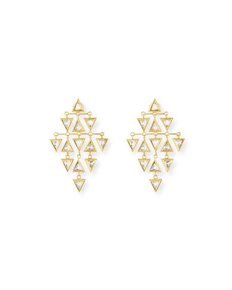 Kundan Diamond Triangle Chandelier Earrings