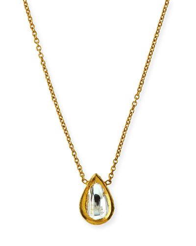 Kundan Diamond Teardrop Pendant Necklace