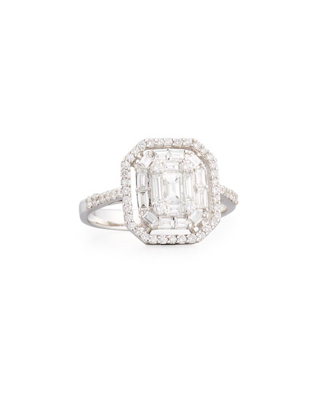 Mosaic Emerald-Cut Illusion Diamond Halo Ring