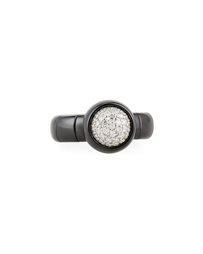 Dama Medium Black Ceramic Stretch Ring with Diamonds
