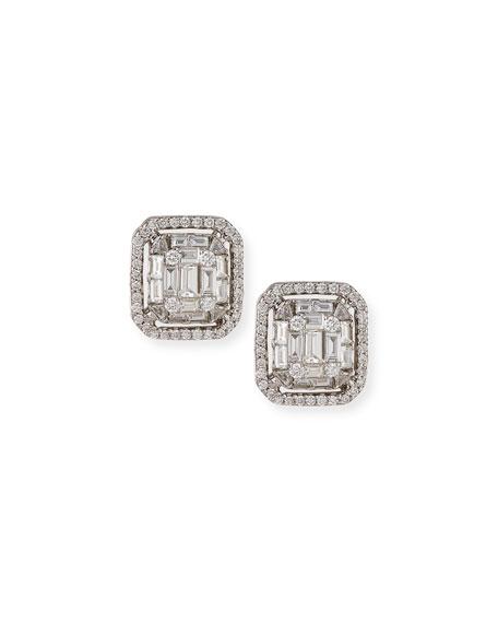Mosaic Emerald-Shaped Diamond Earrings
