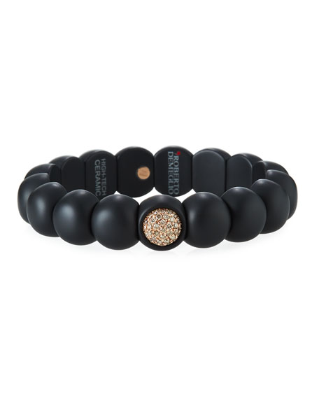 Roberto Demeglio Dama Matte Black Ceramic Beaded Bracelet with Champagne Diamonds nmmnn