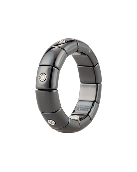 Black Ceramic Band Ring with Diamonds