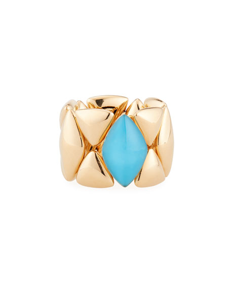 Rock Crystal Turquoise Ring, Size 5