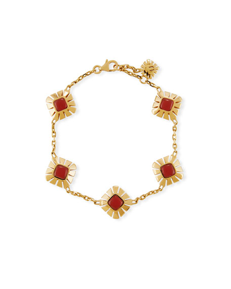 Miseno Sea Leaf Carnelian Station Bracelet