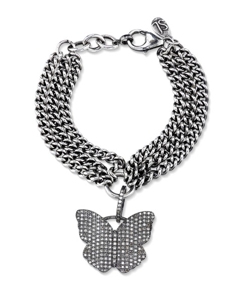 Layered Curb Chain Bracelet with Diamond Butterfly