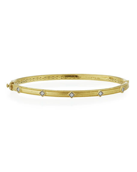 Jude Frances Lisse 18k Simple Diamond Bangle Bracelet