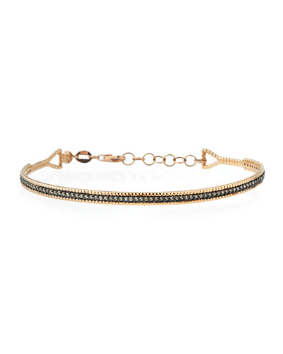 Single Bar Bracelet with Champagne Diamonds in 14K Rose Gold