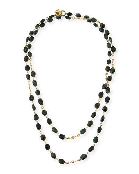 Faceted Emerald Station Necklace, 42""