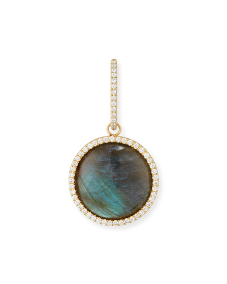 Cabochon Labradorite Enhancer with Diamonds