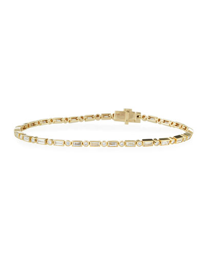 14k Narrow Baguette Diamond Bracelet