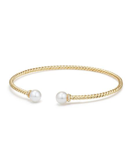 David Yurman Solari 18k Freshwater Pearl Diamond Cuff Bracelet Size M Neiman Marcus