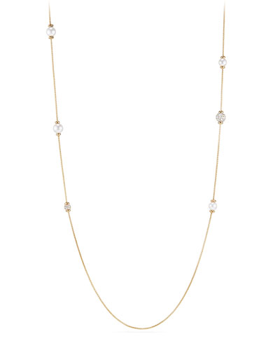 Solari Long Pearl & Diamond Station Necklace, 36
