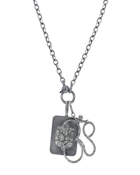 Sheryl Lowe Link Chain Necklace with Diamond Ganesh Dog Tag & Om Pendants