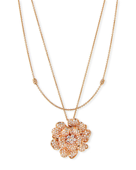 Pavé Diamond Flower Necklace in 18K Rose Gold