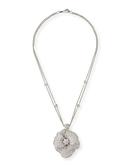 Pavé Diamond Flower Necklace in 18K White Gold