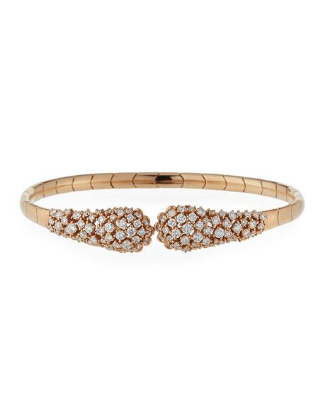 Diamond Snake 18K Rose Gold Cuff Bracelet