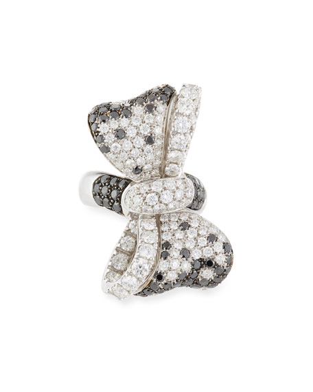 White & Black Diamond Bow Tie Ring