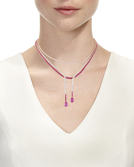 Pink Sapphire & Diamond Three-Strand Necklace in 18K Rose Gold