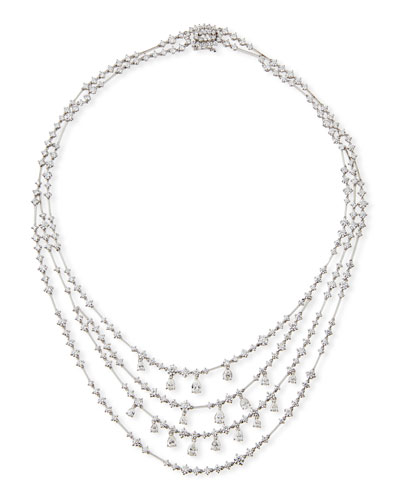 Round & Pear-Shaped Diamond Bib Necklace