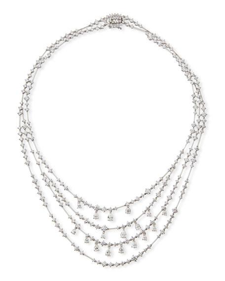 Round & Pear-Shaped Diamond Bib Necklace