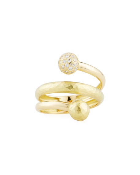 Boules 18K Gold Coil Ring with Diamonds, 0.29 tdcw