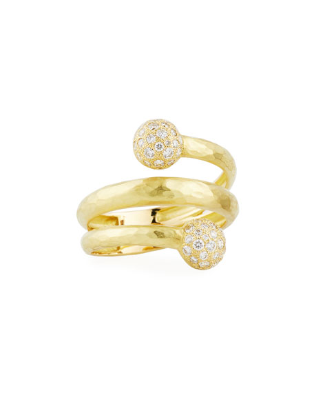 Boules 18K Gold Coil Ring with Diamonds, 0.49 tdcw, Size 7