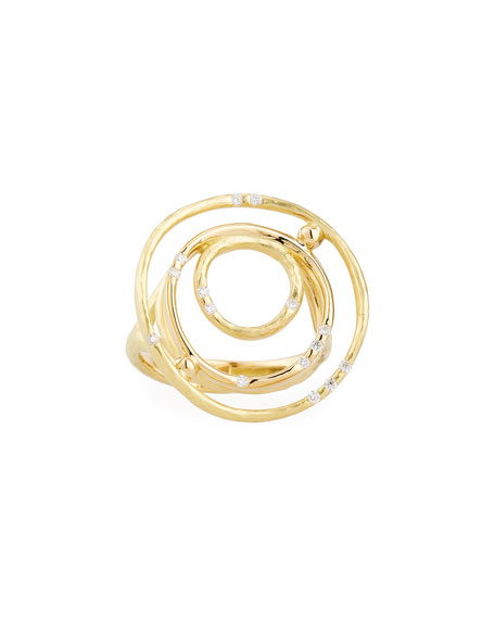 Bamboo 18K Gold Ring with Diamonds, Size 6.5
