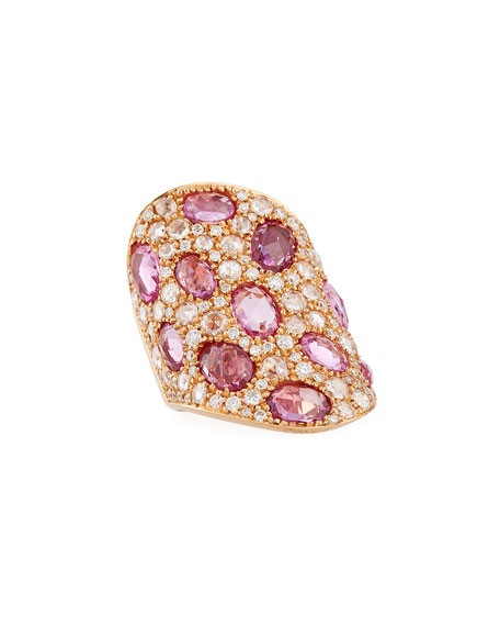 Slanted Diamond & Pink Sapphire Shield Ring in 18K Rose Gold, Size 6.75