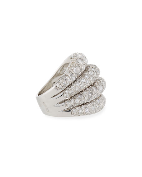 Four-Row Slanted 18K White Gold Diamond Ring