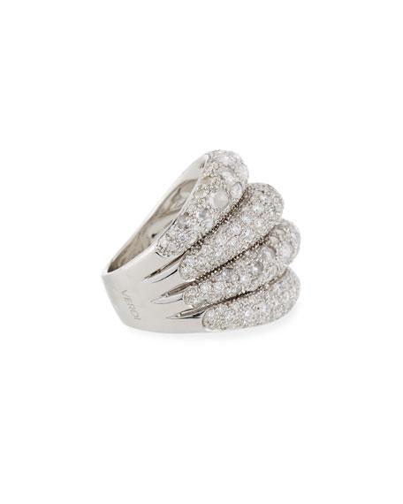 Four-Row Slanted 18K White Gold Diamond Ring