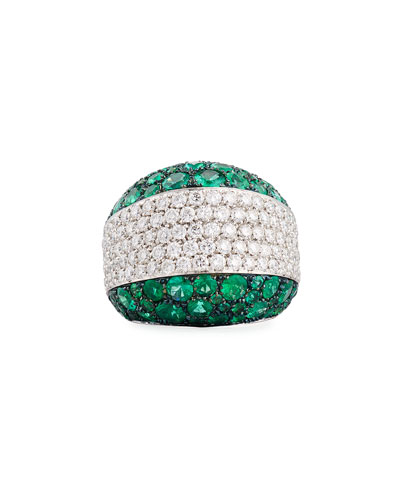 Emerald & Diamond Band Ring in 18K White Gold, Size 7.75