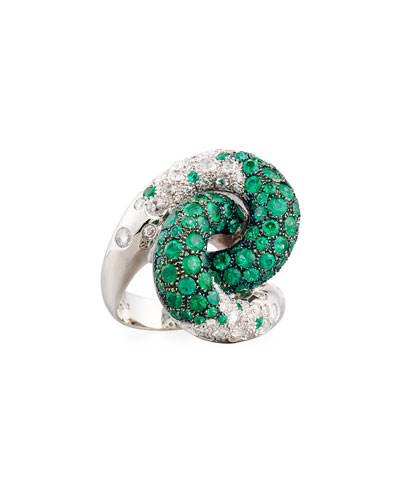 Emerald & Diamond Knot Ring in 18K White Gold, Size 7.5