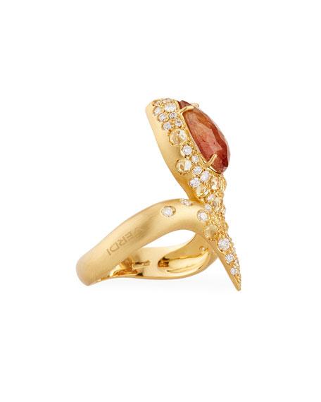 Orange Sapphire & Diamond Snake Ring in 18K Gold