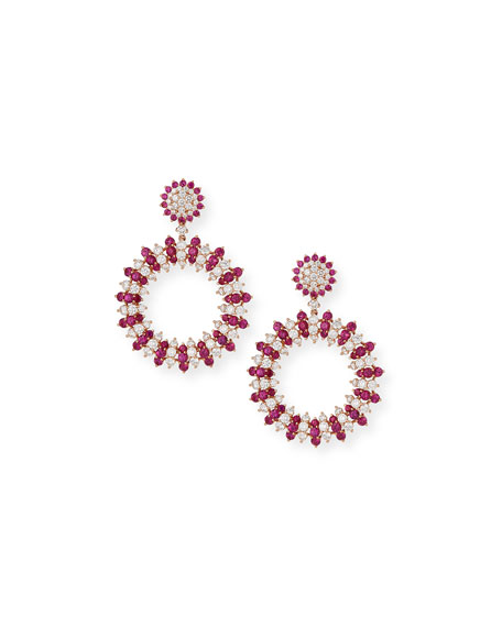 Candy Stripe Diamond & Pink Sapphire Earrings in 18K Rose Gold